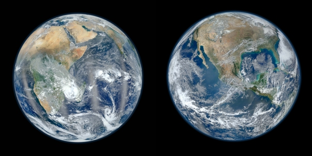 Eastern hemisphere (lfet) and western hemisphere of Earth from high resolution images taken by NASA.