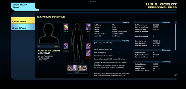 Personal page, giving all of the information about the character, such as rank, biography, weaponry, shields, armour, and so on.  You can even click on each piece to get more information about it, just as you could on the ship page.