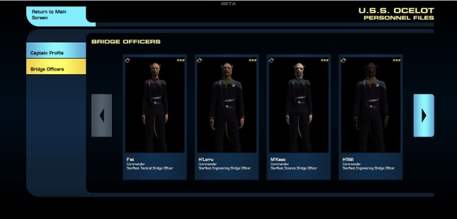 You can even examine the bridge crew, clicking on each member for more information.