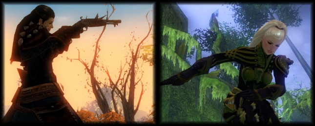 Representations of Shani (left) and Pania (right) as they appear in Guild Wars 2.
