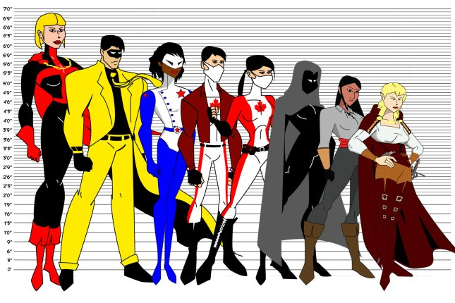 Height differences between the different characters I've created.  (L-R) Britannia, Yellow Jacket, Free Spirit, Canadien, Canadienne, Mannequin, Shani Wennemein, Pania Alow.